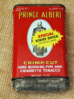 Prince Albert Tobacco Tin with Ulster Knife Offer
