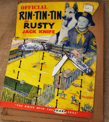 Vintage Rin-Tin-Tin & Rusty Counter Card with knife